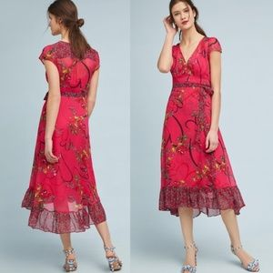Anthropologie Maeve Valentine Wrap Dress
